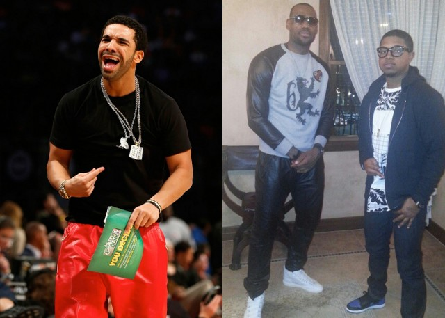 Drake rocked a red pair and because Lebron is so huge his pants were kind of snug