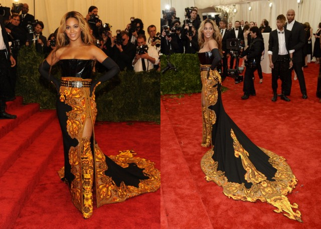 King Bey slayed the red carpet in Givenchy. The train was what made this dress! It commands attention.