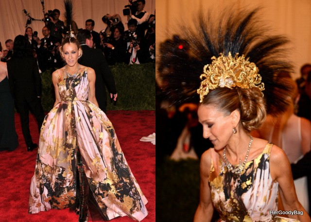 Sarah Jessica Parker is a littly quirky but it works for her. Only she could pull off a head piece like this.