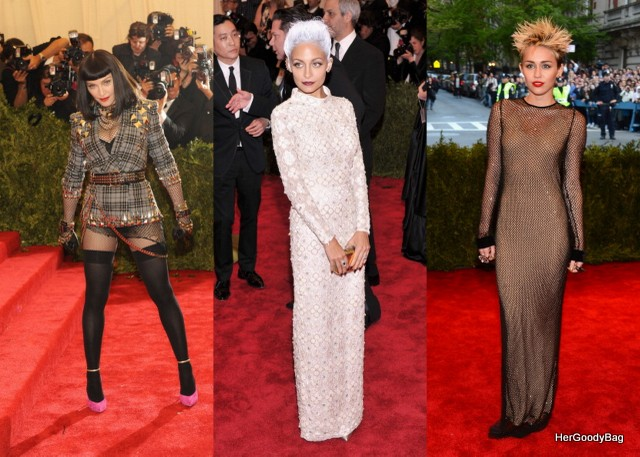 Madonna, Nicole Richie, Miley Cyrus These ladies embodied the theme of Punk: Chaos to Couture There were mixed reviews about Nicole Richie but she slayed this theme.