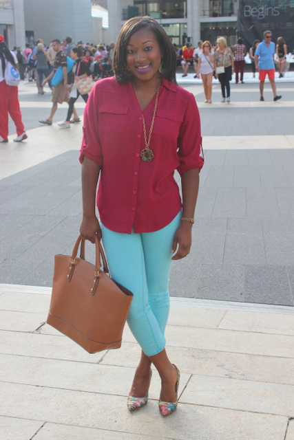 Top: New York and Company, Jeans: Target, Shoes: Prabal Gurung for Target, Bag: JustFab