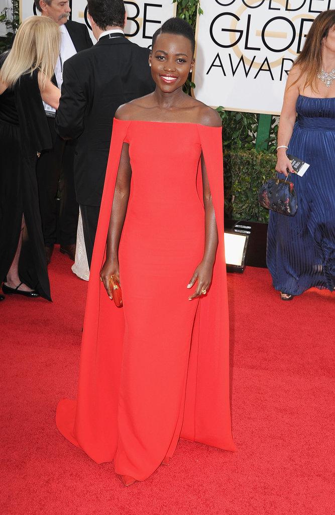 Lupita Nyong'o in Ralph Lauren Caped Dress for the 2014 Golden Globes