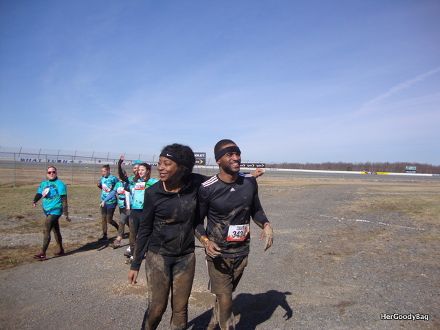 My brother and his friend and Laurel. We were the only girls on the team. This was after our first obstacle- Kiss of Mud